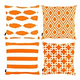 Willow & Smith Decorative Orange Throw Pillow Cushion Covers for Sofa Cotton Linen Cases Geometric Designs Home Bedding Accessories, Set of 4