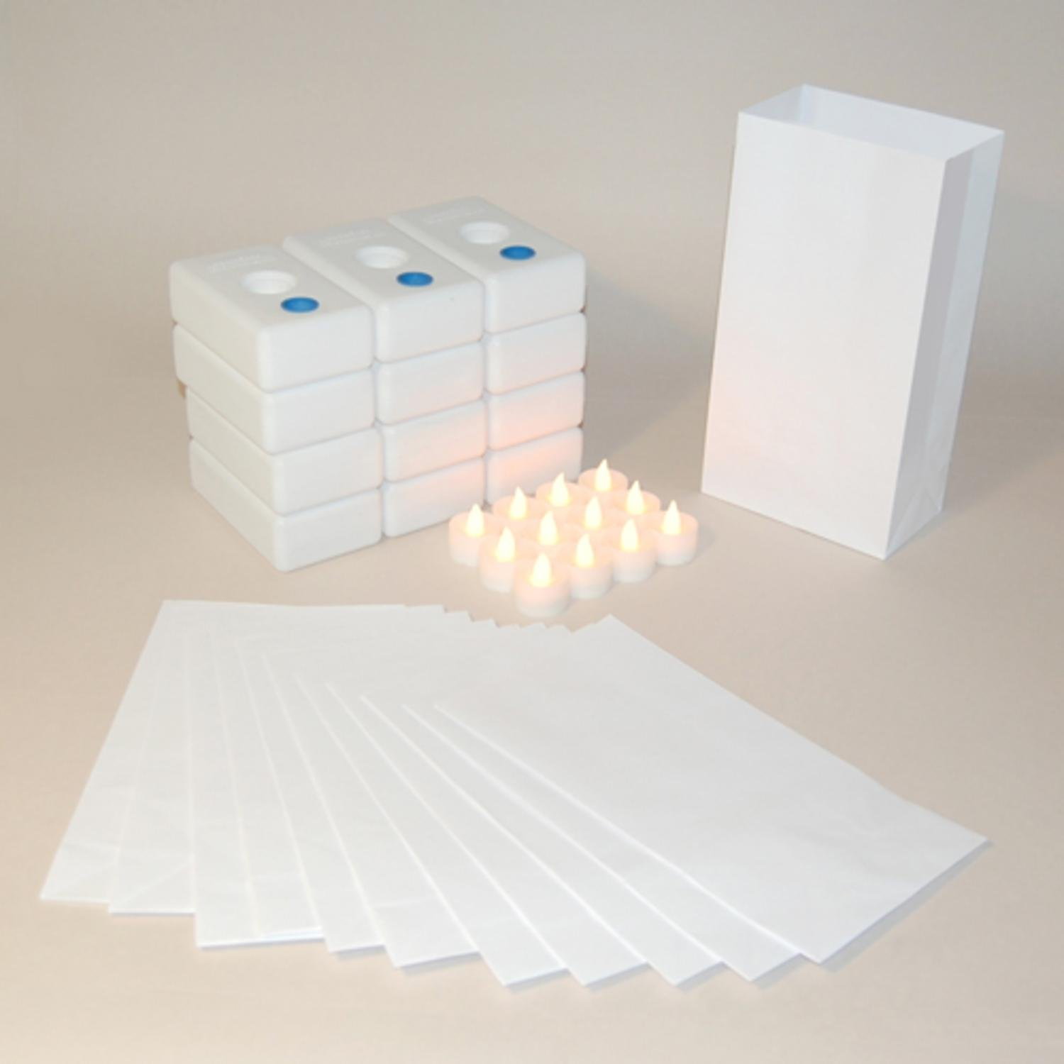 Pack of 12 Battery Operated LED Flameless Tea Candles Traditional Luminaria Kit