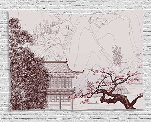 Asian Tapestry by Ambesonne, Chinese Religion Temple Sakura Trees and Mountain Forms Pagoda Eastern Artwork Print, Wall Hanging for Bedroom Living Room Dorm, 80 W X 60 L Inches, Pink Brown