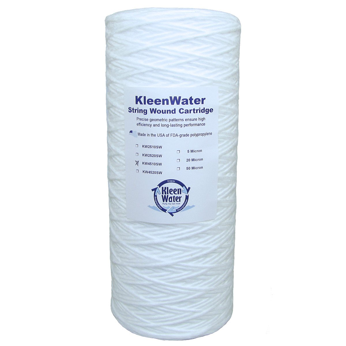 Stainless Steel Water Filter, Large Diameter Water Filter Housing, KleenWater KW4510SW String Wound Sediment Filter, KleenWater KWFLDRG Spare O-Ring by KleenWater