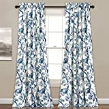 Nil 2pc 84 Girls Blue Color Floral Curtain Panel Pair, Kids Themed Animal Energy Efficient Room Darkening Rod Pocket Playful Luxurious, White Color Window Drapes, Polyester