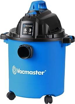 Vacmaster VJC507P 5-Gallon 3 Peak HP Wet/Dry Shop Vacuum, Blue, 5 gal