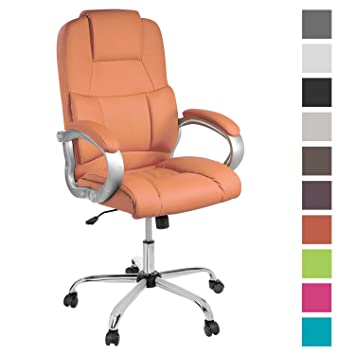 Tpfliving Bureau Chaise Orange De Fauteuil Xxl Denver Similicuir Max210kg ny8m0vNwOP