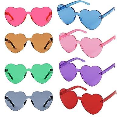 FSMILING Lentes de colores transparentes fiesta favorece gafas de sol en forma de corazón sin montura grandes para mujeres
