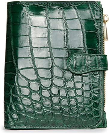 100/% BELLY GENUINE CROCODILE LEATHER MONEY CLIP WALLET SHINY GREEN NEW