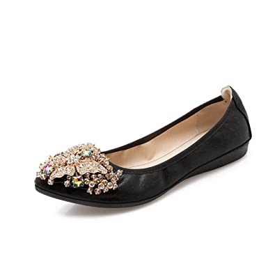 eec4deffa8f6cd JRenok Ballerinas Damen Leder Low Heel Schuhe Freizeit Komfortable  Atmungsaktive Loafer Loafers Schwarz Gold Silber 34