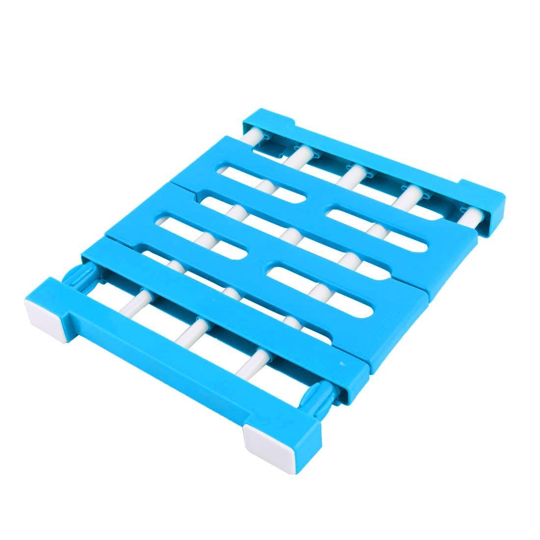 sourcingmap® Blau Hause Plastik ausziehbar Nagelfrei Diverses Lagerung Regal Trennwand a17030900ux0128