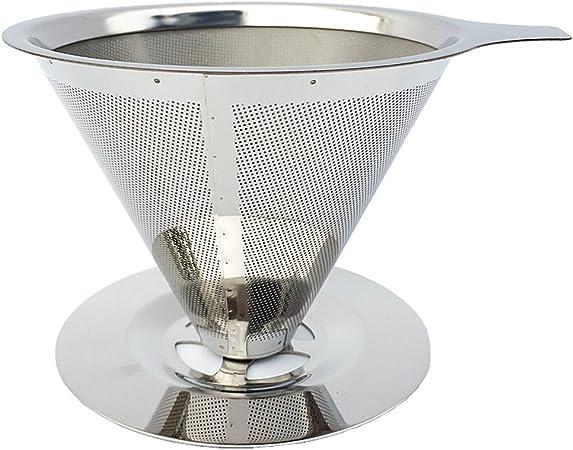 4 vasos – zumo de acero inoxidable té Filtro vierta sobre cafetera goteo – iaesthete reutilizable doble capa alimentos grado 304 18/8 filtro de café de acero inoxidable sin papel filtro de malla: Amazon.es: Hogar