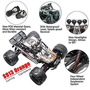 HOSIM RC Truck 9123, 1/12 Scale Radio Controlled Electric Fast Racing Car - High Speed 38km/h Offroad 2.4Ghz 2WD Radio Controlled Monster Truck Truggy - Best Gift for all Car Enthusiast (Orange)?