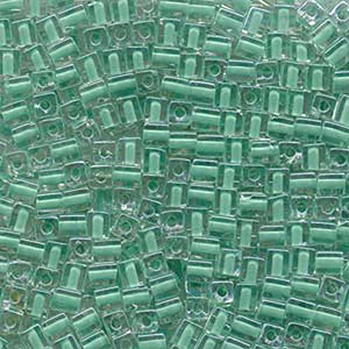 - 20Gr Clear Green Lined Miyuki 4mm Square Cube Glass Seed Beads