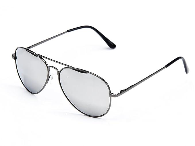 Goson Classic 57mm Mirror Lens Aviator Sunglasses (Black Frame Silver Lens) fd364c3fae1