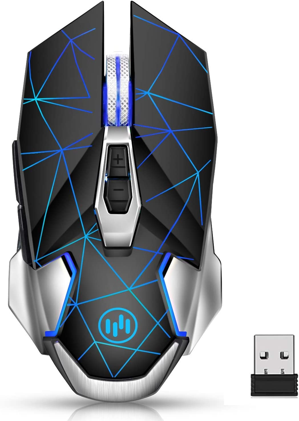 Wireless Gaming Mouse, VEGCOO C8 Silent Click Wireless Rechargeable Mouse with Colorful LED Lights and 2400/1600/1000 DPI 400mah Lithium Battery for Laptop and Computer (C20 Black)