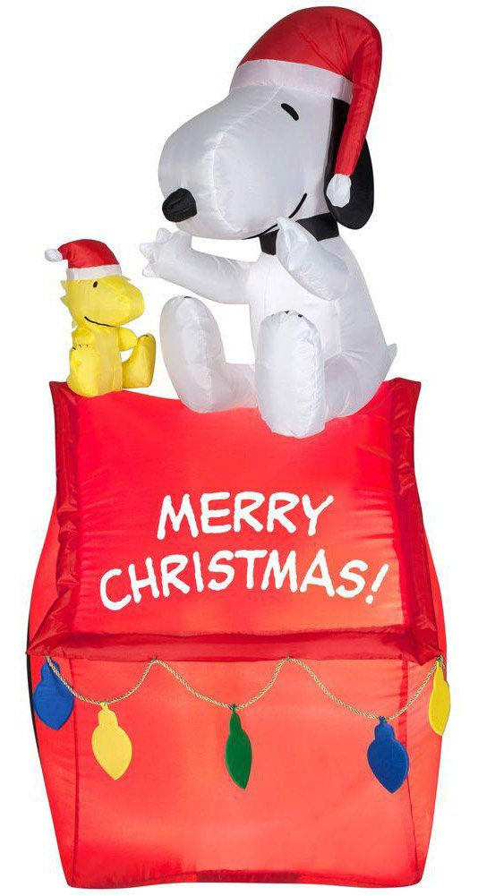 Gemmy Industries Airblown Snoopy On House With Banner And Lights Christmas Decoration Multicolore 88708