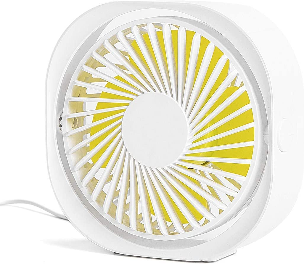 Suitable for Office 360/° Up and Down JINRU USB Desk Fan 4 Inch Portable Ultra-Quiet Mini Fan Family,White Three-Speed Wind