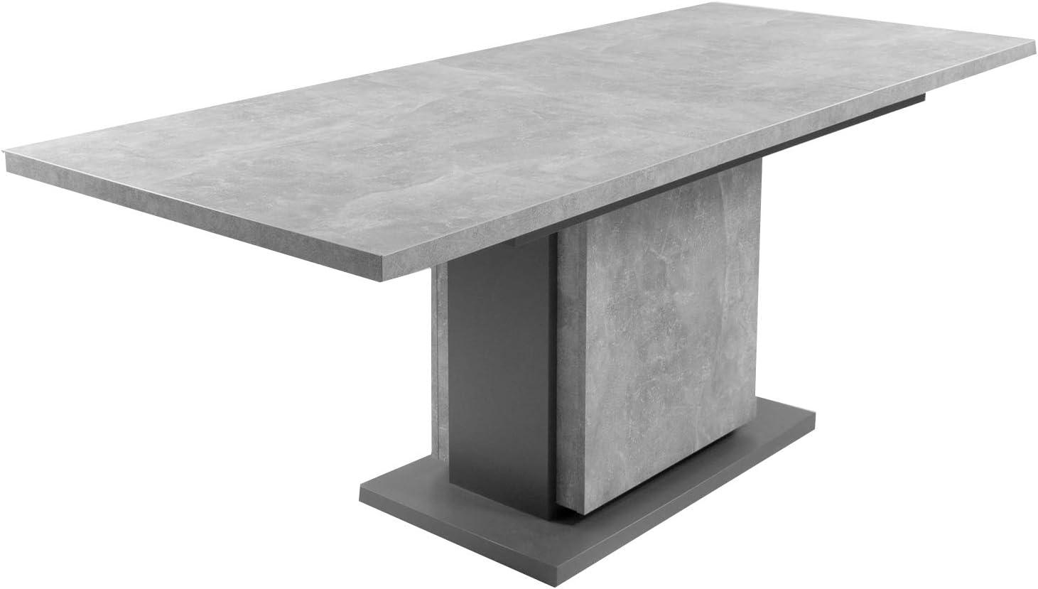 HOMEXPERTS Säulentisch mit Auszug BÄRBEL 43cm / Esszimmertisch grau /  Ess-Tisch auf 43 cm ausziehbar / Melamin Light Atelier anthrazit  Auszugstisch