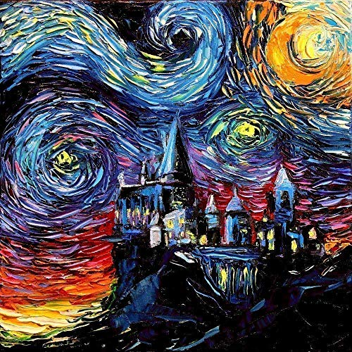 Night Game Framed - Castle Potter fantasy Art Print Starry Night van Gogh Never Saw Hogwarts by Aja choose size and type of paper