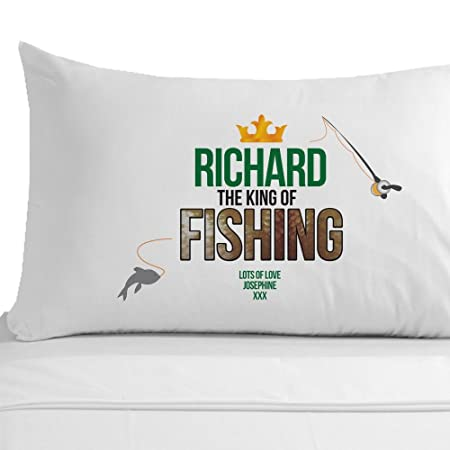 Personalised The King Of Fishing Pillowcase Fisherman Gift Ideas Birthday Gifts For Him Amazoncouk Kitchen Home
