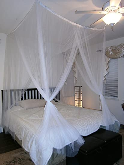 Octorose R 4 Poster Bed Canopy Functional Mosquito Insect Netting With Pole Can Fit Crib