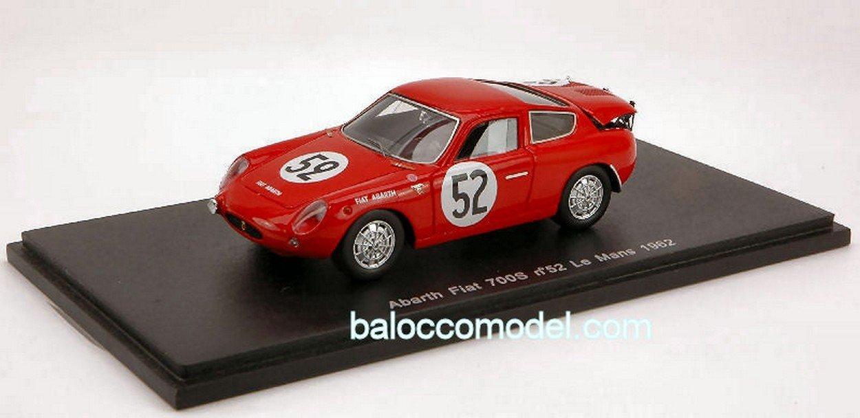 Spark Model S1322 Abarth FIAT 700 S N.52 LM 1962 1:43 MODELLINO Die Cast Model