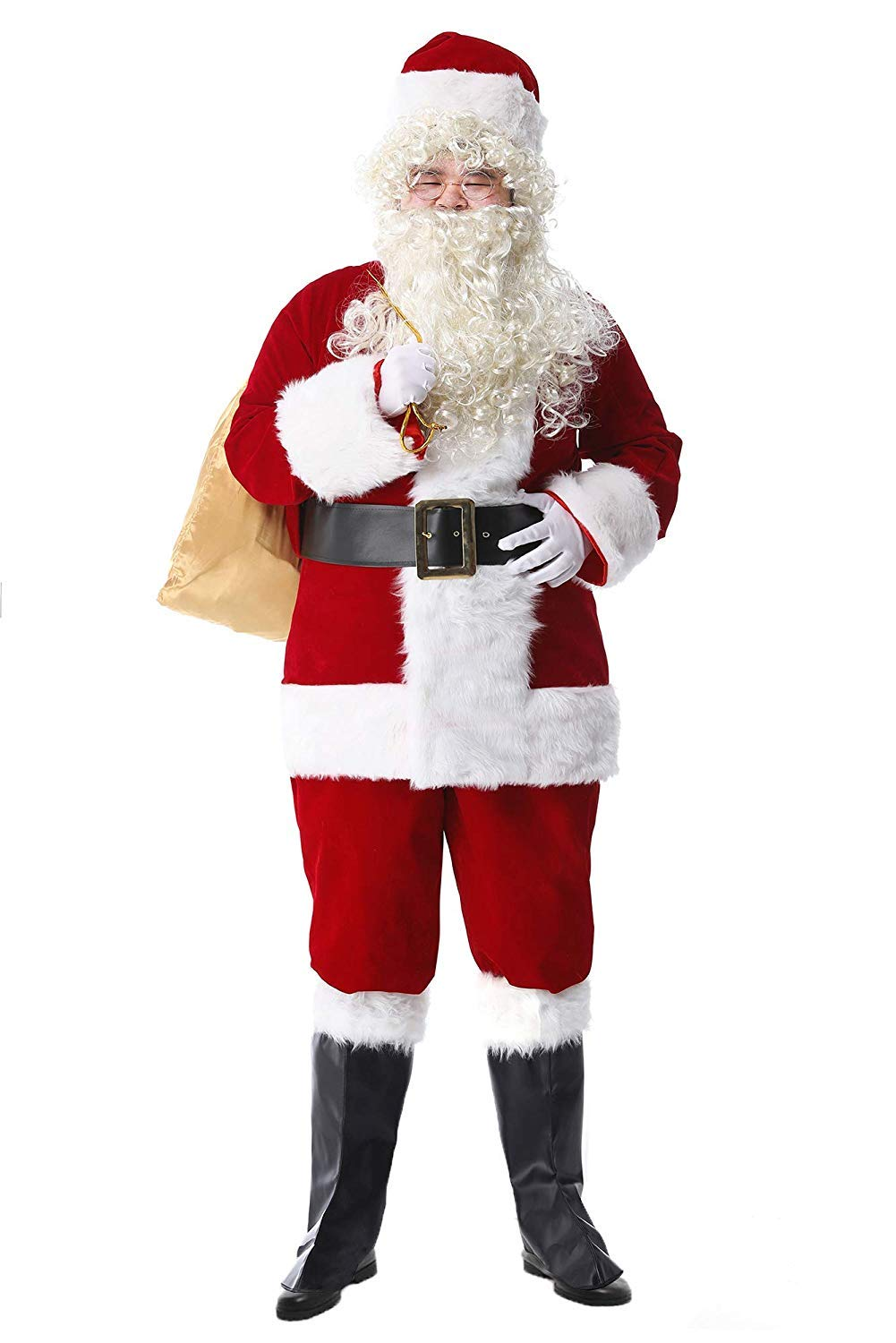 Epsion 10 Pcs Men Santa Suit Accessories Plus Size, Deluxe Adults Christmas Santa Claus Costume by Epsion