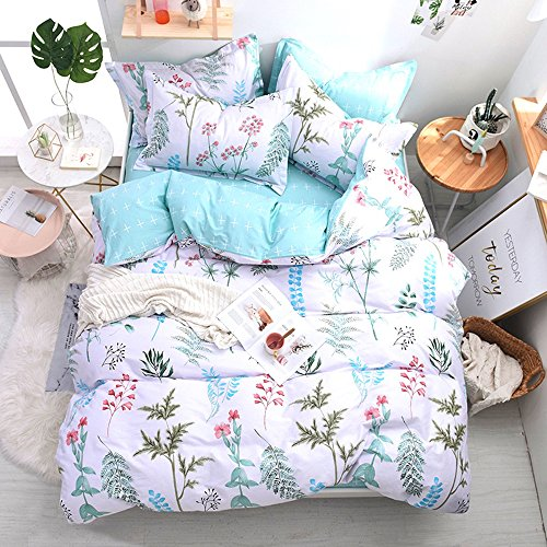 VClife Leaves Branches Queen Bedding Sets Floral Blue White Reversible Pattern Duvet Cover Sets for Girls Adults, Ultra Soft, Hypoallergenic, Durable, (Leaf Queen Duvet)