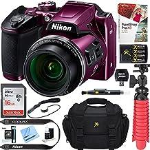 Nikon COOLPIX B500 16MP 40x Optical Zoom Digital Camera w/Wi-Fi (Certified Refurbished) + 16GB SDHC Accessory Bundle (Plum)