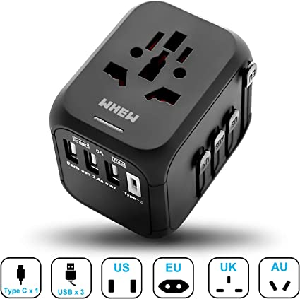 1 Type C All-in-One Worldwide International Power Adapter with Auto-Reset Fuse Europe Upgraded 5A USB Output UK AU and 170 Countries Whew Universal Travel Adapter 3 USB Ports for USA Black