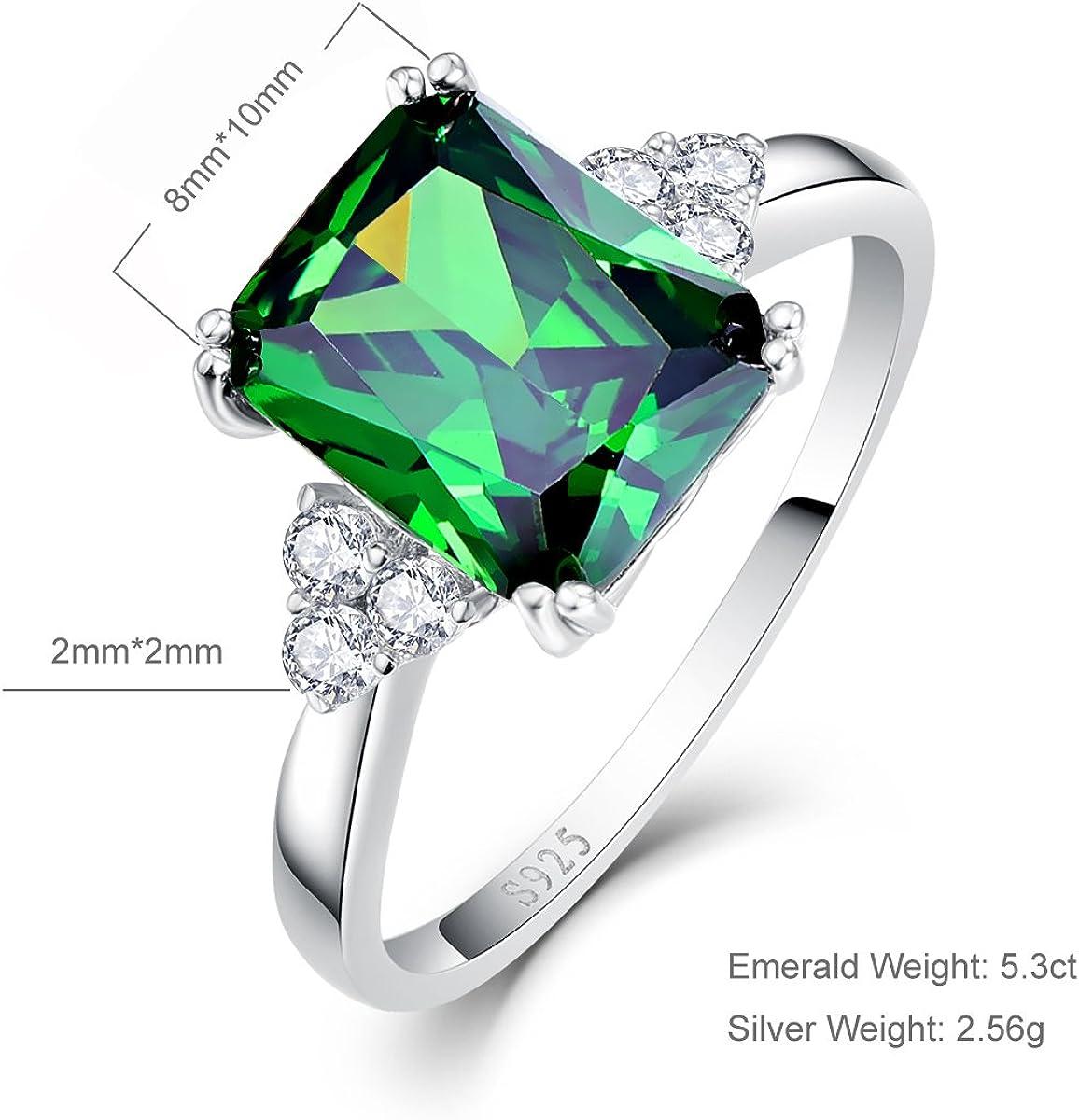 Taille 9 vert émeraude bague fiançailles Black Rhodium Plaqué Mariage Bijoux