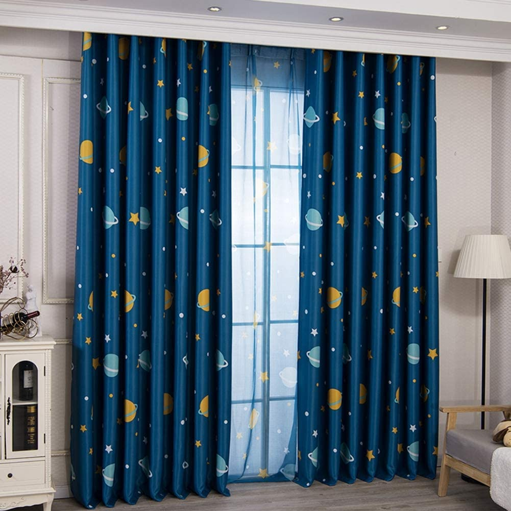 Cartoon Moon Blackout Curtains And Eyelet For Kids Room Children Curtains For Children Bedroom Living Room Window Curtain For Child 2 Pieces Blue W46 D72 Amazon Co Uk Kitchen Home