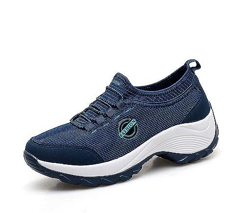 46fd5177f lovejin Mujer Zapatillas de Deporte Plataforma de Correr Cuña Zapatos Malla  Planos Sneakers de Fitness Transpirables  Amazon.es  Zapatos y complementos