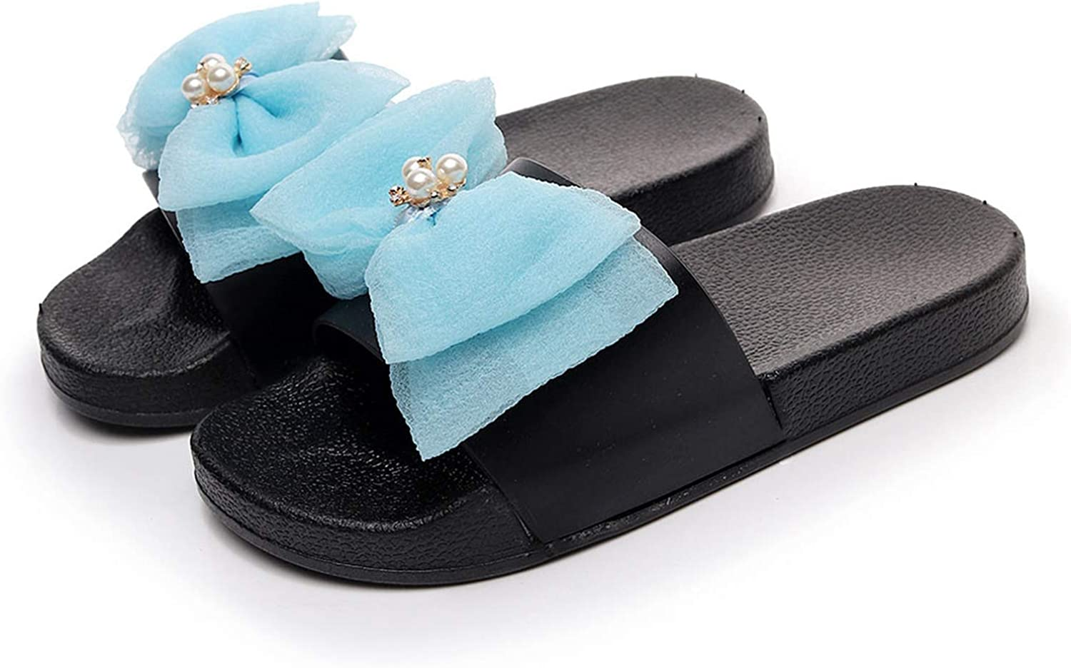 2019 New Summer Women Slippers Ladies Girls Bowknot Crystal Flat Slippers Beach Shoes Shoes Woman with Heels # g35,E,5.5,United States