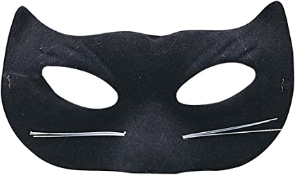 Ladies Black Glitter Cat Mask With Whiskers Catwomen Eye Mask