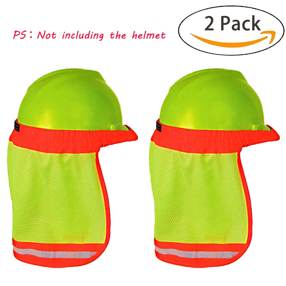 [2PCS] Hard Hat Sun Shade, High Visibility and Reflective Full Brim Mesh Sun Shade Protector (Hard Hat Not Included)