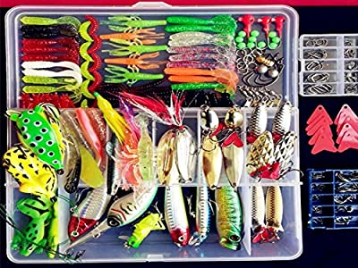 275pcs Set Bionic Fishing Lure Tackle Kit Set Minnow Crank Spoon Bait Spinner Lure Soft Grubs Shrimp Lure Hard Metal Sequins Lure with Sharp Fishing Hooks Bait suit