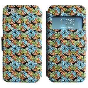LEOCASE círculos fresco Funda Carcasa Cuero Tapa Case Para Apple iPhone 5 / 5S No.1005839
