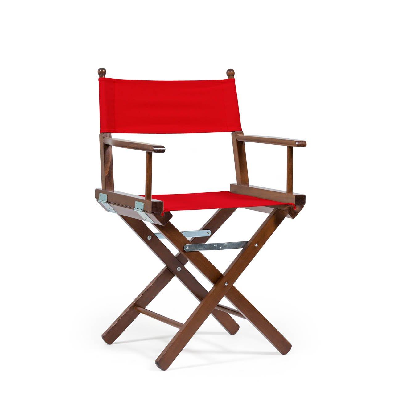 Telami Outlet zusammenklappbar Buche Teak Holz Regiestuhl Made in Italien – Outdoor – Möbel – 52 x 46 x 91,5 cm rot