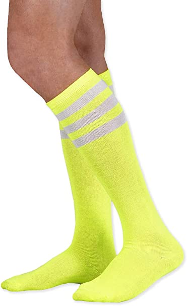1 Pair Bright Yellow Striped Youth Football Soccer Sport Knee High Socks