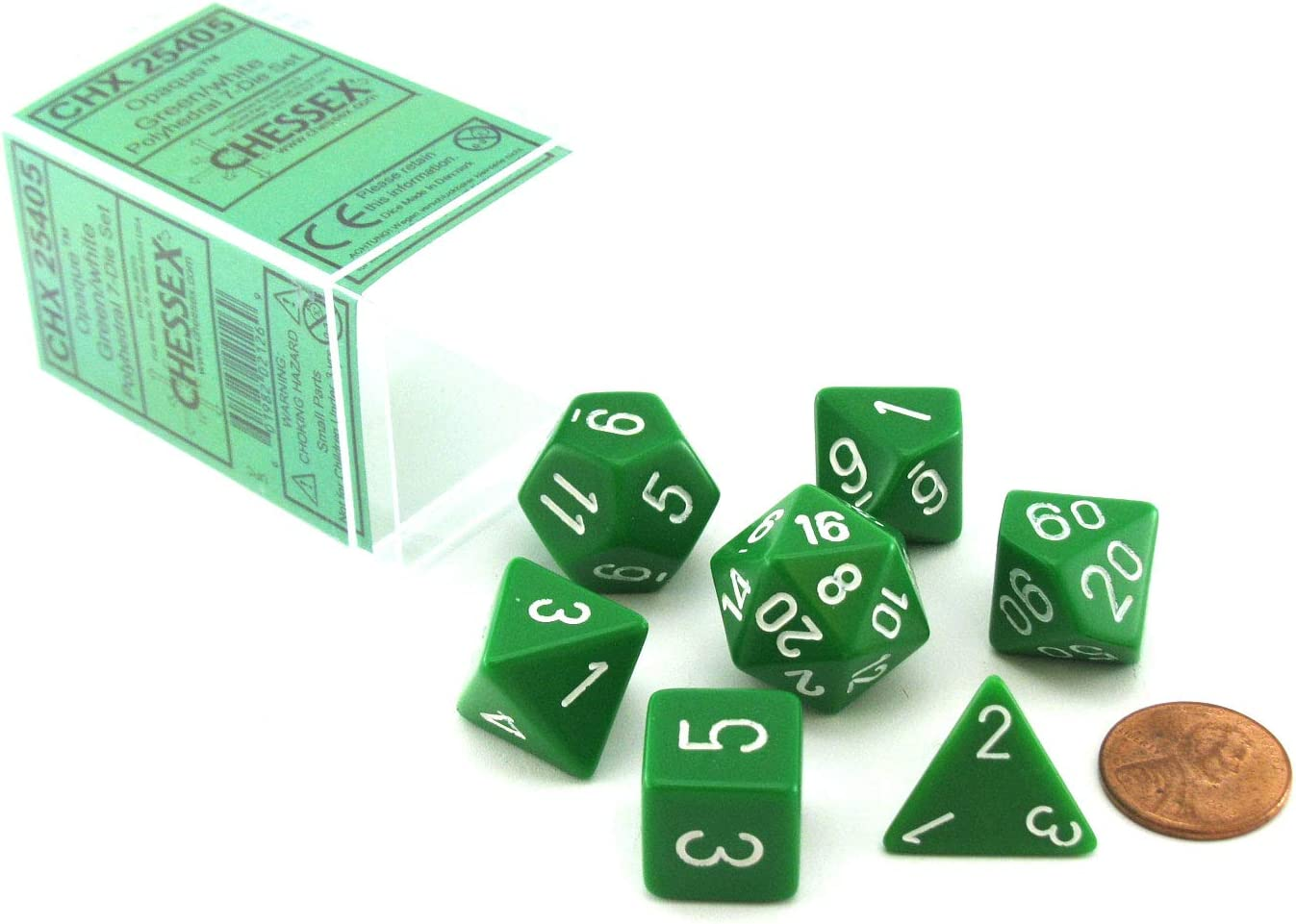 Blue with White Numbers Polyhedral 7-Die Opaque Chessex Dice Set