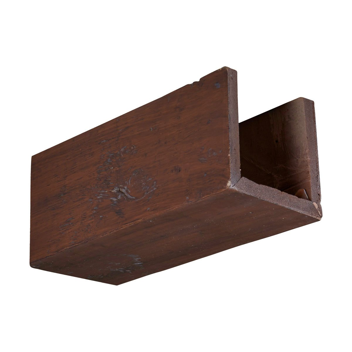 Ekena Millwork BMKPBC-MAT W x 6 H Knotty Pine Endurathane Faux Wood Ceiling Beam Material Sample Black Cherry Finish