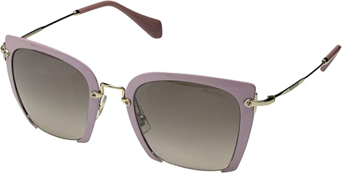53ad4f1d6a4 Image Unavailable. Image not available for. Colour  Miu Miu Women s 0MU  52RS Glitter Pink Light Brown Gradient Mirror Silver One Size