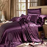 THXSILK Pure 19mm Mulberry Silk Twin Duvet Cover Seamless with Buttons Open - Dark Magenta