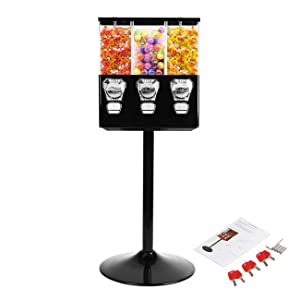 BEAMNOVA Candy Vending Machine Dispenser On Stand Commercial 3-Containers Gumball Bank Black Top Lock with Keys for 25 Cent Coin & Candies or Capsule of Diameter 0-32mm (0-1.26 inch)