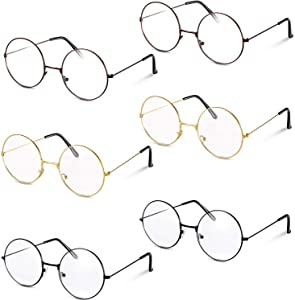 6 Pack Round Clear Metal Frame Glasses Wizard Glasses Circle Glasses for Party Dressing Up