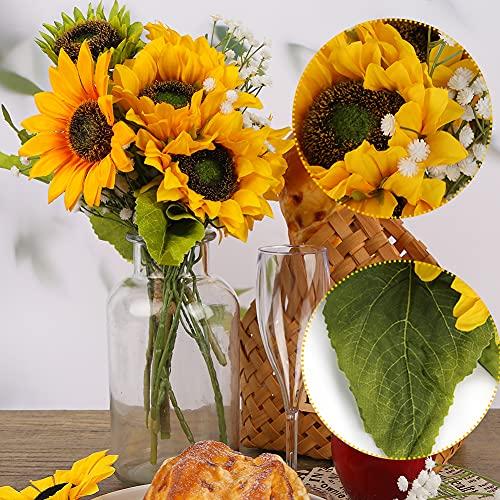 Bloomst Artificial Sunflowers Bouquet, 7 pcs Faux Silk Sunflower with 3 pcs Artificial Gypsophila Fake Yellow Flowers for Wedding Home DIY Decoration Flowers Arrangement