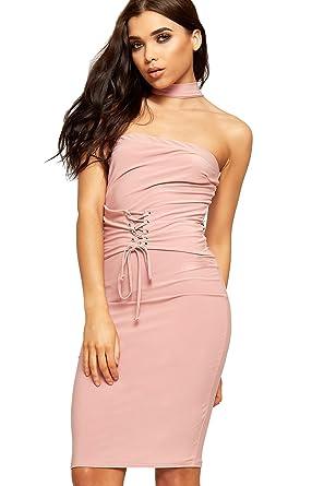 91dee3a231f9a WEARALL Women's Corset Belt Tie Bodycon Dress Ladies Choker Knee Length  Stretch New - Nude -