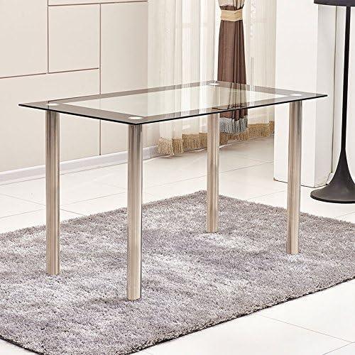 Ospi® Cristal templado mesa de comedor con patas de metal muebles ...