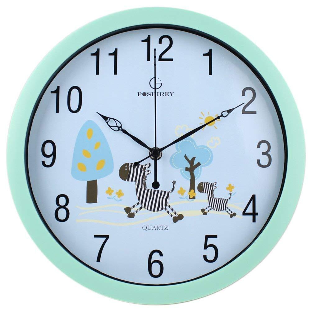 Jundonglilai 居間および美しい漫画の創造的な時計、子供部屋の超静かな寝室の円形の壁時計 (Color : B, サイズ : 12inch) 12inch B B07R128KZK