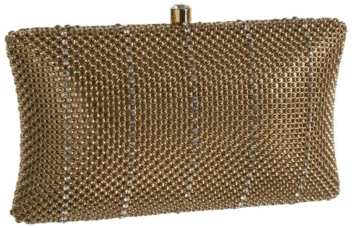 Whiting & Davis Crystal Pillow Minaudiere,Gold,one size (Clutch Cristal)