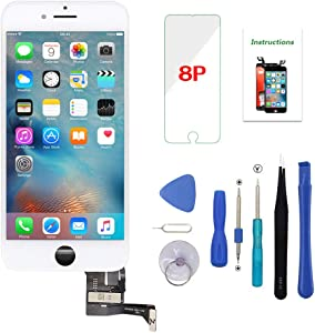 Screen Replacement for iPhone 8 Plus White 5.5 inch 3D Touch LCD Screen Digitizer Replacement Frame Display Assembly Set with Repair Tool Kit (iPhone 8 Plus Screen, White)
