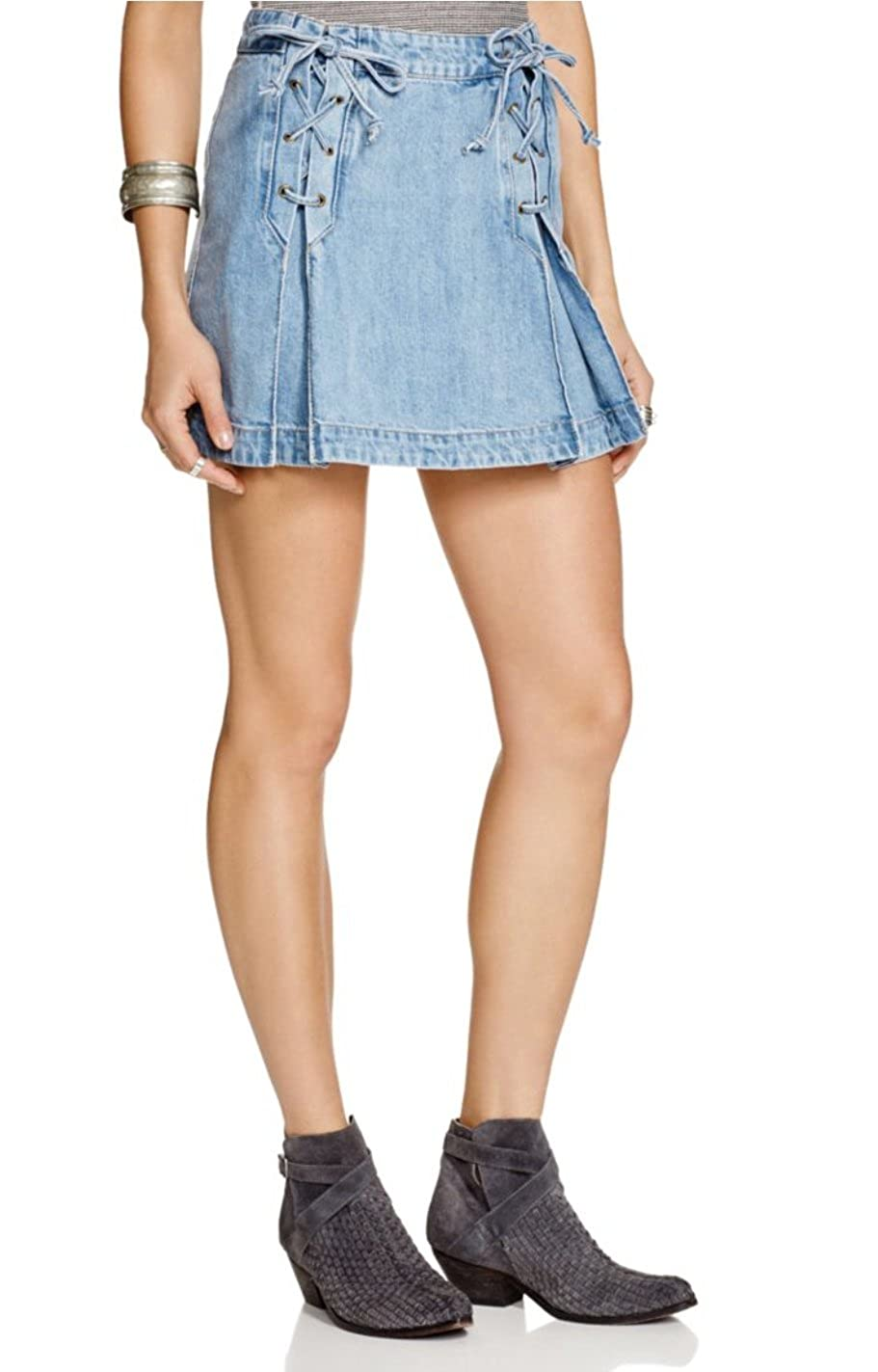 coupon codes terrific value Discover Free People Womens Lace Up Denim Skirt (4, Light Denim) at ...